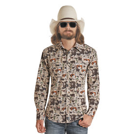 Panhandle Men's Dale Brisby Cattle Print Snap Front Shirt