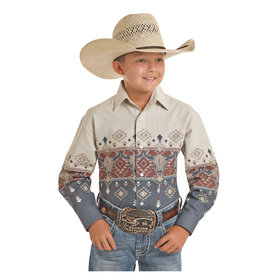 Panhandle Boy's Aztec Steer Skull Snap Front Shirt