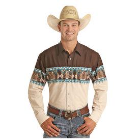 Panhandle Men's Chocolate, Tan and Teal Tribal Print Snap Front Shirt