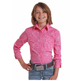 Panhandle Girl's Pink and White Flower Print Snap Front Shirt