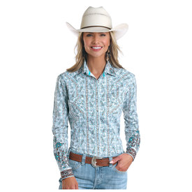 Panhandle Women's Turquoise and Chocolate Ferncroft Vintage Print Snap Front Shirt