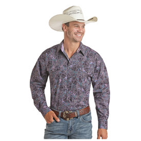 Panhandle Men's Black and Purple Poplin Print Snap Front Shirt