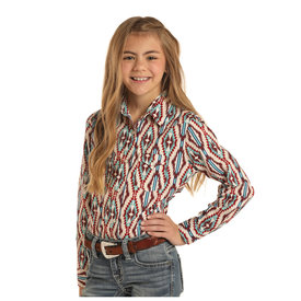 Rock and Roll Cowgirl Girl's Teal and Burgundy Aztec Print Snap Front Shirt