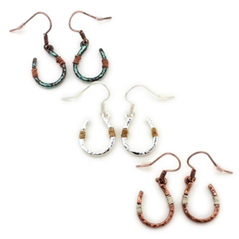Silver Wire Wrapped Horseshoe Earrings