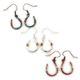 Wyo-Horse Copper Wire Wrapped Horseshoe Earrings