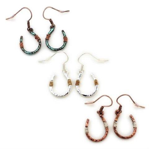 Copper Wire Wrapped Horseshoe Earrings