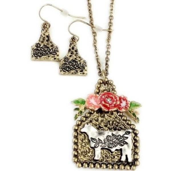 Wyo-Horse Floral Golden Ear Tag Jewelry Set