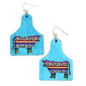 Wyo-Horse Turquoise Wooden Ear Tag Earrings