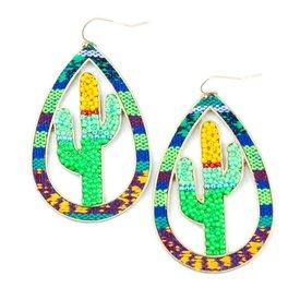 Wyo-Horse Beaded Cactus Cutout Earrings