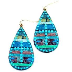 Wyo-Horse Turquoise Cross Teardrop Earrings