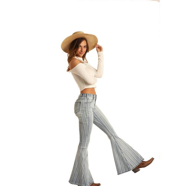 Rock & Roll Denim Women's High Rise Striped Jean