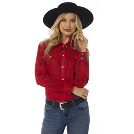 Wrangler Women's Red and Black Print Snap Front Shirt