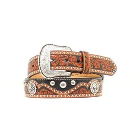 Nocona Belt Co. Tooled Brown/Black Studded Belt C5 Size 42