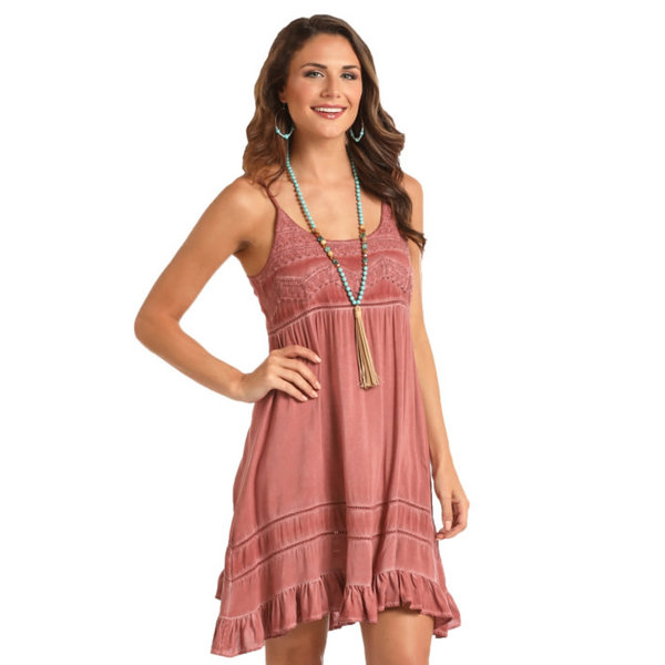 Rock and Roll Cowgirl Lightweight Rust Dress