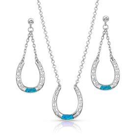 Montana Silversmiths Horseshoe Opal Jewelry Set