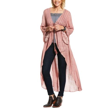 Women's Blush Pink Short Sleeve Duster