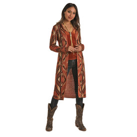 Rock and Roll Cowgirl Long Copper Aztec Cardigan