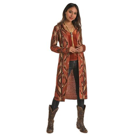 Long Copper Aztec Cardigan