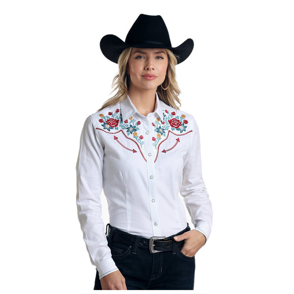 Panhandle Women's White Floral Embroidered Long Sleeve