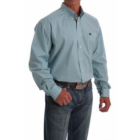 Men's Basket Weave Print Button Down Shirt