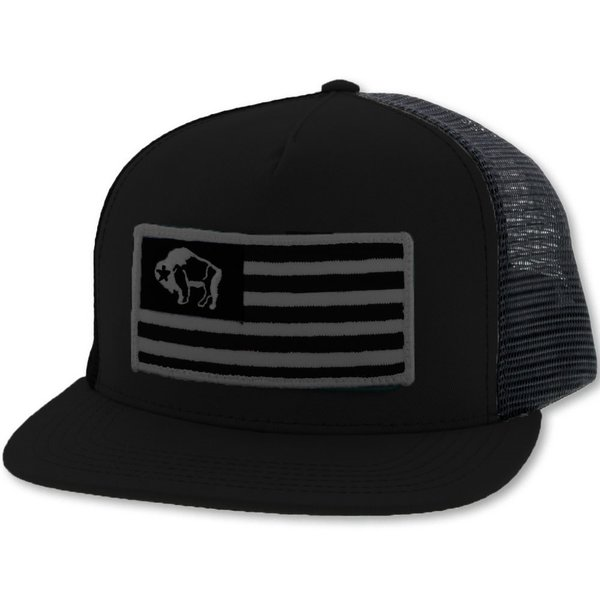 Hooey Men's Black Flag Patch Cap