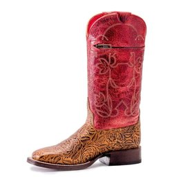 Macie Bean Kids Red Tooled Boots w Pocket