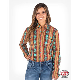 Cowgirl Tuff Multicolor Aztec Pullover Button Up Shirt