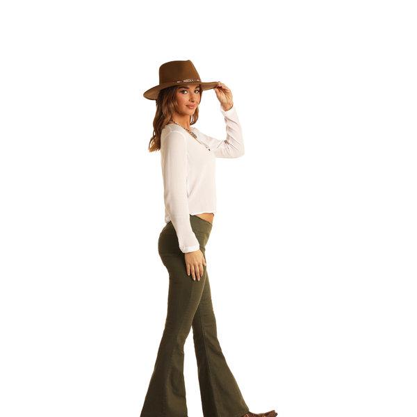 Rock & Roll Denim Women's Olive Green Bargain Bell Jeans