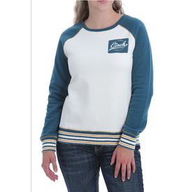 Cinch White and Teal FleeceVarsity Sweater