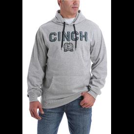 Cinch Men's Grey and Teal Logo Hoodie