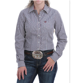 Cinch Women's Purple and Blue Stripe Button Down Shirt
