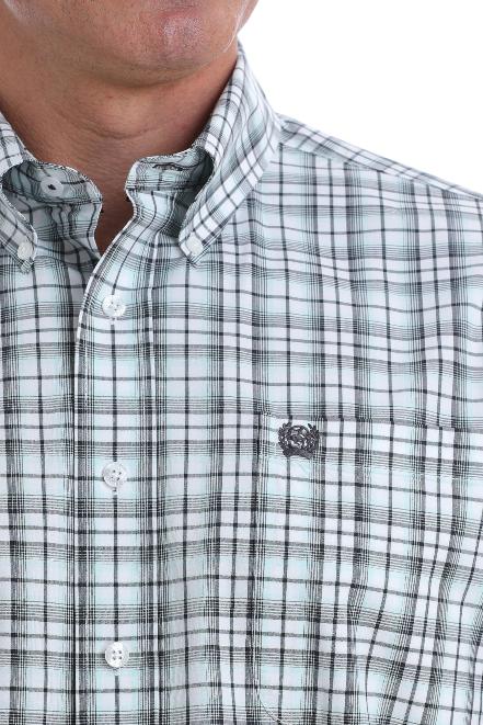 Cinch Men/'s Grey W// Teal Pin Striped Plaid Button Up Shirt MTW1104541 MTW104541X
