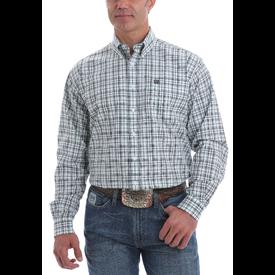Cinch Men's Grey and Mint Plaid Button Down Shirt
