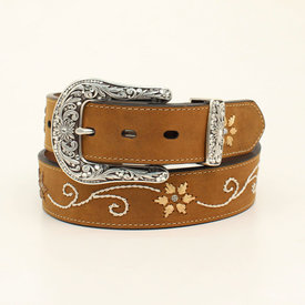 Nocona Belt Co. Women's Embroidered Floral and Scroll Belt