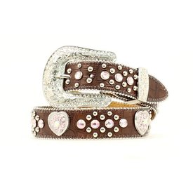 Nocona Belt Co. Girl's Pink Rhinestone Croc Print Belt