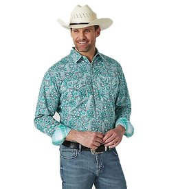 Wrangler Men's 20X Competition Advanced Comfort Green and White Snap Front Shirt
