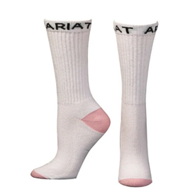 Ariat Women's White and Pink Crew Sock