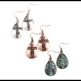 Wyo-Horse Copper Cross Teardrop Earrings