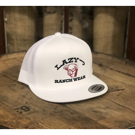Lazy J Ranch Wear White Cap with Red Steer Head