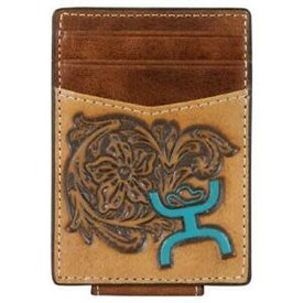 Hooey Tooled Turquoise Logo Wallet