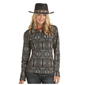 POWDER RIVER OUTFITTERS Women's Aztec Printed Henley Pullover