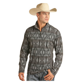 POWDER RIVER OUTFITTERS Men's Aztec Printed Henley Pullover