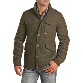 POWDER RIVER OUTFITTERS Forest Green Plaid Wool Bomber Jacket