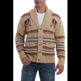 Cinch Men's Tan Retro Cardigan Sweater