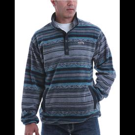 Cinch Men's Blue Stripe Fleece Pullover