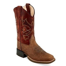 Old West Children's Brown/Burnt Red Western Boot
