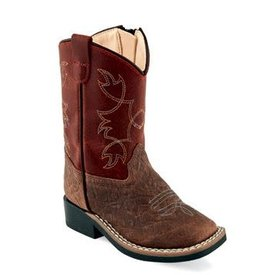Old West Toddler's Brown/Burnt Red Western Boot
