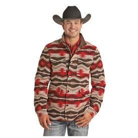 Panhandle Men's Red and Tan Aztec Jacquard Jacket