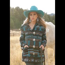Cinch Women's Brown & Turquoise Tweed Coat