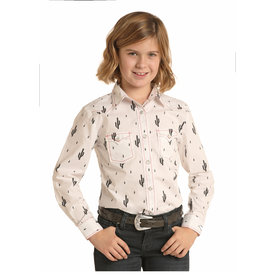 Rock and Roll Cowgirl Girl's Cactus Print Snap Front Shirt